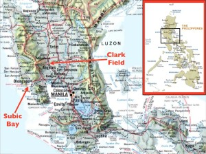 Map of Clark, former US military bases in the Philippines