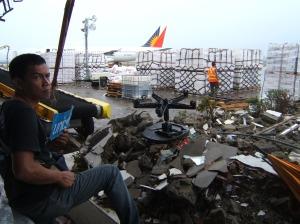 Devastated Tacloban City airport right after Typhoon Haiyan hit landfall