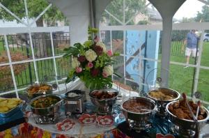 Hawaiian theme 'luau' food buffet