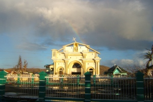 Rainbow appears in the sky above Giporlos Church