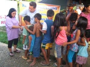 Street children receiving food relief in Tacloban City, Leyte