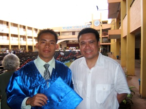 (left to right): Vicente Yanesa graduating from College of Nursing 2008 and Dale Asis