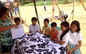 (standing left) Evelyn Castillo interviewing children of Dingle, Iloilo