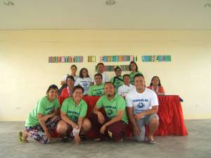Participants from Kaluluwa Kolectivo and NEXTGEN Fellows pose after conducting environmental workshop in Giporlos, Samar