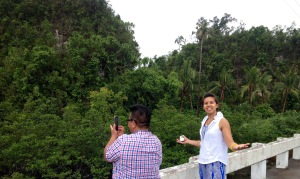 (left to right): E Armea and Crystle Dino struck in awe by the lush forest around them on the road to Samar, Philippines