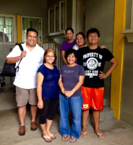 Family of Irene Juaniza welcoming Dale Asis (left) and Evelyn Castillo (second from left) to Balayan, Batangas