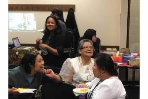 (left to right): Rebekah Lomahan, Maria Ferrera and Shirley Pintado enjoying the Report Back last August 29, 2015