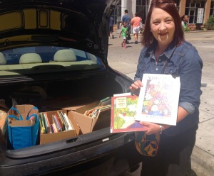 Loyola University Chicago graduate student Jennifer Fieten donated used elementary school books
