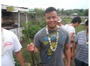 Marc Butiong ready to plant mangrove seedlings in Liloan, Cebu