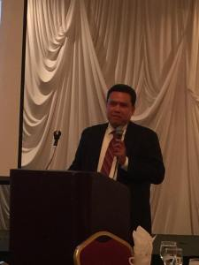 Dale Asis saying a few remarks during the Beyond Borders luncheon October 3, 2015