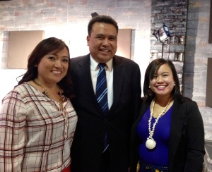 Bayanihan Foundation NEXTGEN Program featured at Fil-Am NOW! TV Show with host Donna Reyes (standing left) with Dale Asis (center) and Jeselle Santiago (standing right)