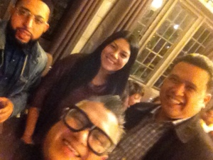 "(left to right): Antonio, Olivia Santiago, Cesar Conde and Dale Asis during the preview exhibit of ""The Bang Bang Project"" at University Church Chicago"