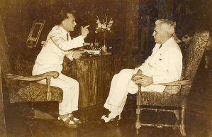 "Above: Philippine President Manuel Quezon (left) and U.S. High Commissioner Paul McNutt (right) in 1938. ""Rescue In The Philippines: Refuge From The Holocaust"" chronicles a real-life Casablanca, in which a high-profile group of poker buddies — including the Frieder brothers of Cincinatti, Philippine President Manuel Quezon, and U.S. High Commissioner Paul McNutt and Colonel Dwight Eisenhower — hatched an intricate international plan of rescue and re-settlement, saving 1,300 Jews from certain death in Nazi concentration camps (photo courtesy American Public Television)"