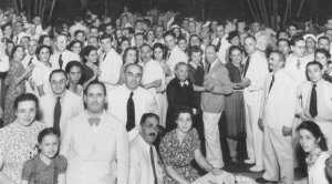 Jewish refugees attend dinner at the Frieders' home in Manila, Philippines on April 30, 1940 (photo courtesy of the American Public Television)