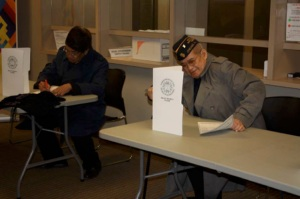 Mr. Mariano Santos (left) and Mr. Dominador Ramirez (right) were the first to cast their ballots during the opening of overseas voting in Chicago April 2016 (photo courtesy of Consulate General of the Philippines Chicago)