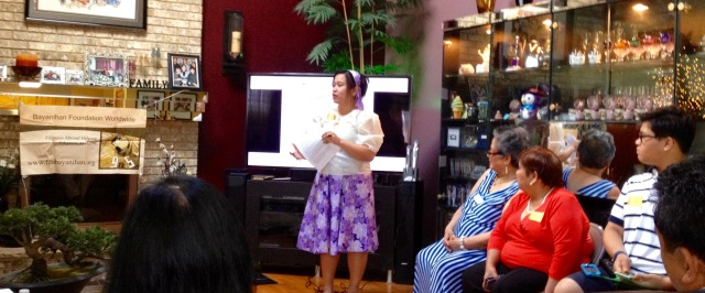 Jeselle Santiago announces the launch of the Community Power Giving Circle with Shirley Pintado (second from right) and Alicia Santiago (far right) looking on