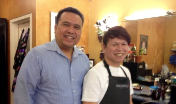 (left to right); Dale Asis and Chica de Jesus of Chica Salon donated another laptop computer
