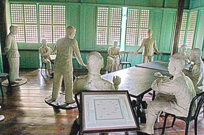 Life-sized wax figures depicting the controversial military trial of national hero Andres Bonifacio at a house in Maragondon, Cavite (photo courtesy of Manila Standard)
