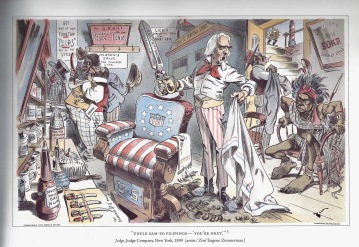 political cartoon during the Philippine American War (courtesy of The Forbidden Book by Ignacio, 2004)