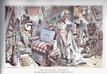 political cartoon during the Philippine American War (courtesy of The Forbidden Book by Ignacio, 2004)