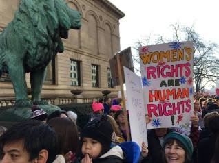 """Women's Rights are Human Rights"" poster on Women's March in Chicago January 21, 2017"