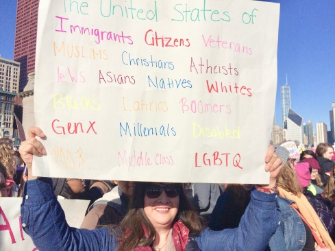 "Poster during Chicago's Women March ""The United States of immigrants, citizens, veterans, Muslims, Christians, Atheists, Jews, Asians, natives, whites, blacks, Latinos, Boomers, GenX, Millenials, Diasbled, poor, middle class, LGBTQ"" January 21, 2017"